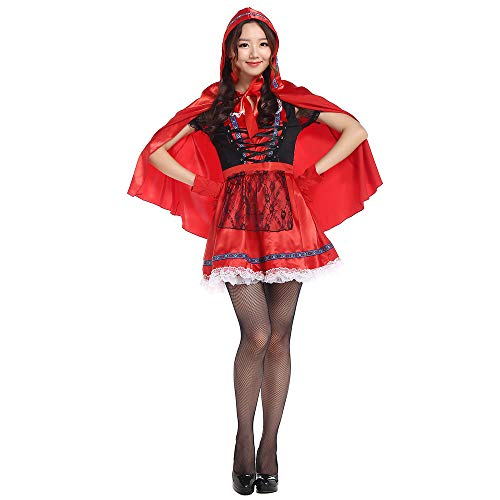 Gimitunus Komisch Lady Classic Little Red Riding Hood Kostüm Kostüm Party Kleid mit Red Hat Umhang