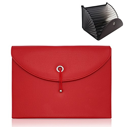 Gossipboy dehnbarer tragbarer Akkordeon-Aktenordner, Dokumententasche Aktentasche PU Leder Business Datei Organizer Tasche A4Größe und Brief-Format 13Fächer rot