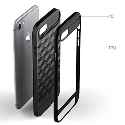 "iPhone 7 / iPhone 8 Hülle, HICASER Dual Layer Case Shock Proof Prism Textur TPU +PC Bumper Handytasche Schutzhülle für iPhone 7 / iPhone 8 4.7"" Schwarz Schwarz / Weiß"