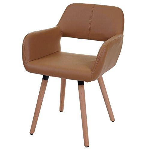 Chaise de Salle à Manger HWC-A50 II, Fauteuil, Design rétro des années 50 ~ Similicuir, Couleur Noix