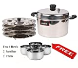 PRISTINE Stainless Steel Idli Cooker, 21 cm / 4 Plates (FREE 4 BOWLS : 2 Chatni & 2 Sambhar)