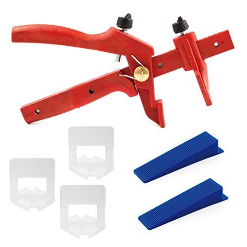 Lantelme Fliesen Nivelliersystem Basis Set Fuge 3mm 3-15 mm Verlegehilfe 100 Stück Laschen Keil 1 St. rote Zange 6042