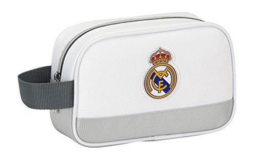Safta-Real Madrid-Neceser de 22 cm 811624234, Color Blanco y Gris