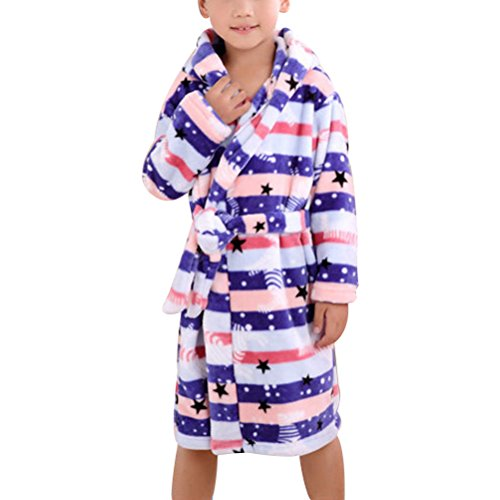 Zhhlinyuan Childrens Kids Boys Girls Flanelle Dressing Gown Robes Dark blue&Light Blue