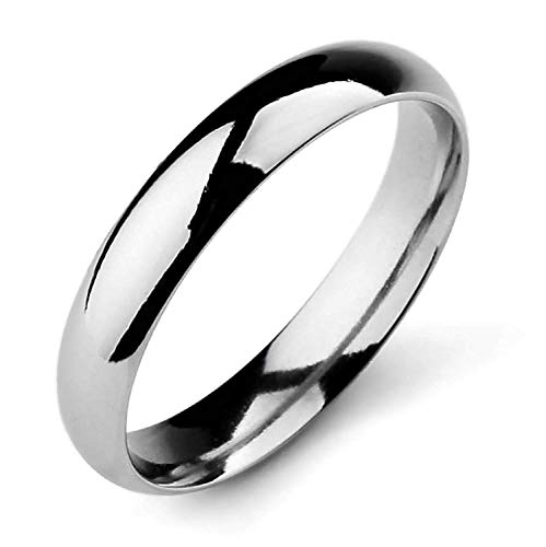 XIABME Men,Women's Wide 4mm Stainless Steel Band Ring Silver Tone Wedding