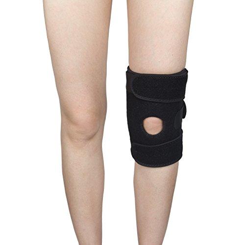 ynport Kniebandage für Arthritis ACL Meniskus Outdoor Sports Lycra Spring für Best offen Patella Knie Displayschutzfolie Wrap lindert Schmerzen Symptome, schwarz