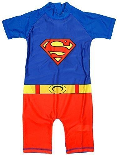 Jungen Superman Kostüm Sonnenschutz alles in eins Badeanzug Sunsuit größen von 1,5 bis 5 Jahre - Blau, 92-98