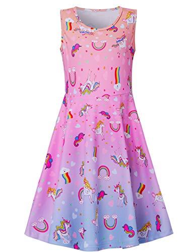Fanient Little Mädchen Sommer Ärmelloses Kleid Rainbow Unicorn A-Linie Lässig/Party Kleider Maxi-Kleid 4-5 Jahre