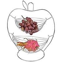 Keraiz 2Etagen Obstkorb Rack Ständer Halterung Aufbewahrung Chrom Draht Apple Form, Metall, Silber, 18,5x 36x 22cm