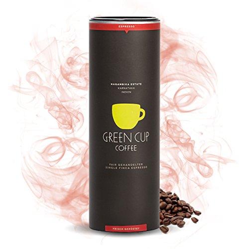 Green Cup Coffee Espresso Nagambika - fair gehandelte Arabica Espresso-Bohnen - milder Premium Espresso aus dem indischen Hochland - Ideal für Siebträger - 454g Dose gemahlen