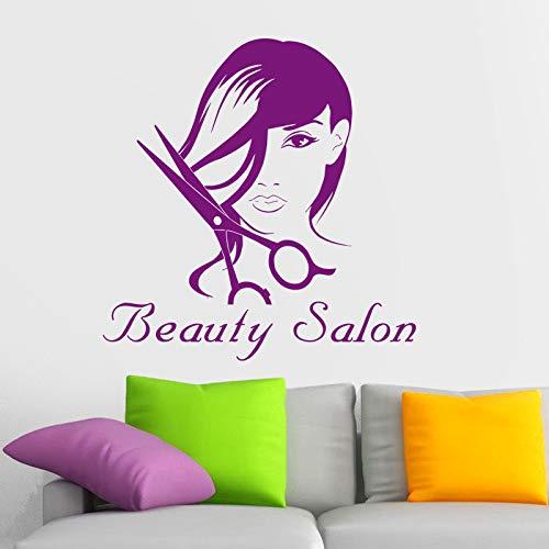 Décalque de salon de coiffure coiffure autocollant vinyle mural Art Stickers Décor Windows décoration murale 58x58cm