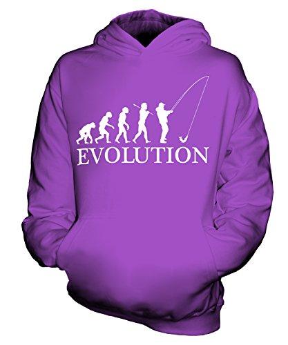 CandyMix Angeln Fischfang Evolution Des Menschen Unisex Kinder Jungen/Mädchen Kapuzenpullover, Größe 7-8 Jahre, Farbe Violett