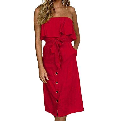 JYJMWomens Off Schulter Bardot Midi Kleid Damen Sommer Rüschenband Rüschenkleid Dress Kurz Kurzes Tuchkleid Sommer Strandkleider (XL, ()