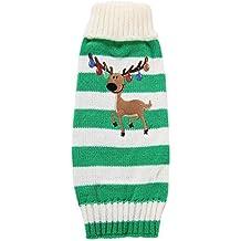 LUFA Pet Sweater Bells Christmas Elk Puppy Vêtements Pet Holiday Stripe Winter Warm Clothes