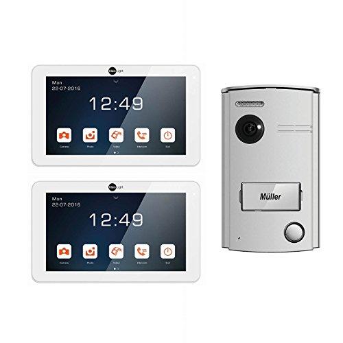 Neolight Video Türsprechanlage 7 Set mit 2 Monitore 2-Draht 7 Zoll Display Gegensprechanlage Aluminium Nachtsicht 120° Weitwinkel 1-Familienhaus Klingel, weiß, Porta-7