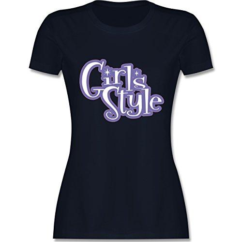 Typisch Frauen - Girls Style - tailliertes Premium T-Shirt mit Rundhalsausschnitt für Damen Navy Blau