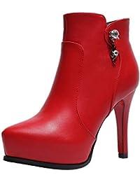 Martin zapatos de tacón alto de mujer,Sonnena Zapatos de punta estrecha para mujer moda fashion 2018 Pure Color Martin Boots Zipper Zapatos de tacón alto