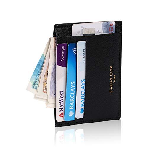 Caesar Cuir - Porta carte di credito da uomo, in pelle di vacchetta RFID, sottile, minimalista, compatta, protezione senza contatti, 100% vera pelle di vacchetta di alta qualità