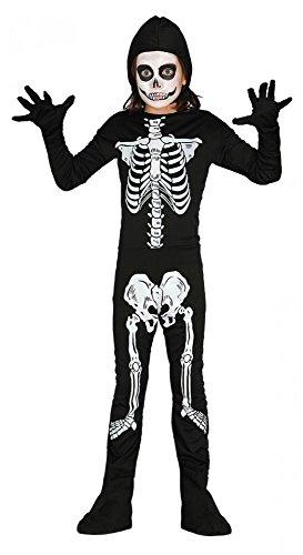 Druck für Jungen und Mädchen Halloween Kinder Kostüm Knochen, Kindergröße:134 - 7 bis 9 Jahre (Halloween-drucke)