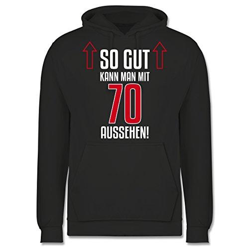 Geburtstag - So gut kann man mit 70 aussehen - Männer Premium Kapuzenpullover / Hoodie Dunkelgrau