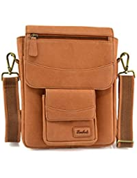 Embee's Classic Air Tan Colored Genuine Leather Unisex Cross Body Sling Bag For All 10 Inch Tablets- IPad Air...