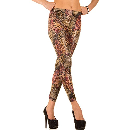 Damen Leggings Hose Slim Strumpfhose Pants Wetlook Muster Leder Optik ONE SIZE Rot Nr.14