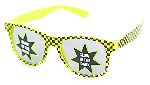 Party-Brille grün schwarz karriert leuchtet im Dunkeln Nerd-Brille Wayfarer Damen Herren Design-Brille Streber-Brille Panto-Brille