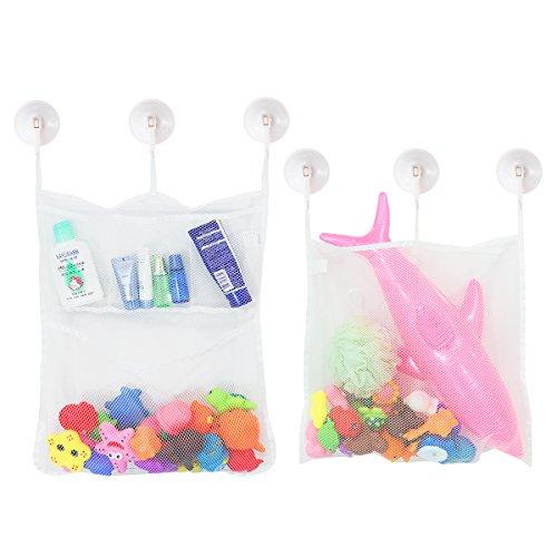TOYMYTOY organizador de juguetes bolsa de almacenamiento,Red de malla con 6 ganchos para cuarto de baño y bañera -2 Pieza