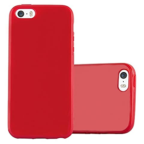 Cadorabo – Ultra Slim TPU Jelly Coque Etui Housse Gel (silicone) pour > Apple iPhone 5 / 5S / SE < – Coque Case Cover Bumper en JELLY-ROUGE
