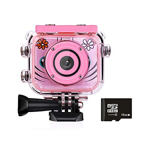 Cámara Digital para Niños, Cámara Infantil Portátil Impermeable 1080P Pantalla LCD de 1.77' HD, Cámara de Acción Video para Juguetes, Regalos, Vacaciones (Incluye Tarjeta de Memoria de 16GB) -Rosa