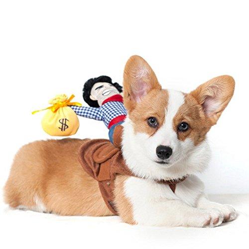 qganylO Haustierkostüm für Hunde und Katzen, T-Shirt, Jacke Outfit, mit Cowboy-Hut, für Halloween, Partys