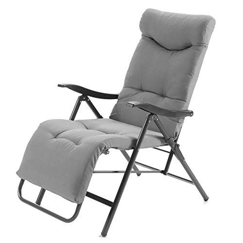 Poltrona letto super imbottita reclinabile sedia sdraio