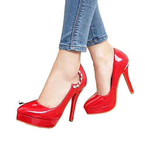 ENMAYER Femmes Slip en Cuir Verni Sur Talons Aiguilles Ronde de Plate-forme Toe Pompes Chaussures Sexy Night Club Rouge#30