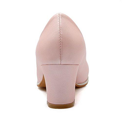 VogueZone009 Femme Tire Rond à Talon Correct Pu Cuir Couleur Unie Chaussures Légeres Rose