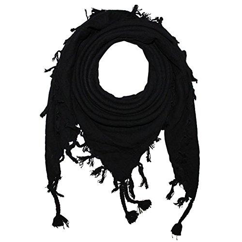 Superfreak® Pañuelo pali de un color único°chal PLO°100x100 cm°Pañuelo palestino Arafat°100% algodón – negro/negro