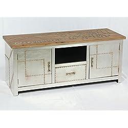 Mueble bajo vintage con diseño industrial, aparador retro para TV, tablero de aluminio, cómoda 504