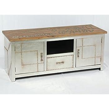 phoenixarts vintage lowboard industrie design sideboard retro tv board alu kommode 504 amazon. Black Bedroom Furniture Sets. Home Design Ideas