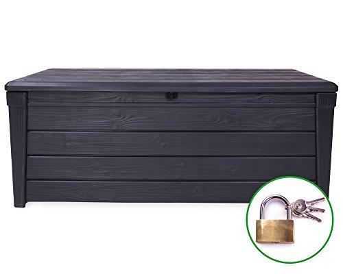 Ondis24 Kissenbox Brightwood + Vorhängeschloss Schloss Auflagenbox Gartenbox Sitztruhe Kiste für Sitzkissen anthrazit 454 Liter