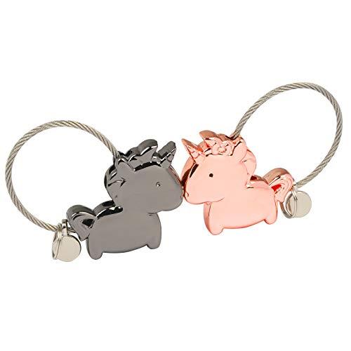 ZoomSky 1 Paar Liebe Schlüsselanhänger magnetisch küssender Einhorn Schlüsselring Partneranhänger Geschenk für Frauen Männer zum Geburtstag Valentinstag - Magnetische Anhänger