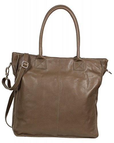 Italienische Shopper Tasche - Handtasche aus weichem Nappa Leder - sehr groß (36 x 35 x 9 cm), Farben:Beige Braun (Dark Taupe)