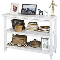 SoBuy Tabla de Consola, Armario del Pasillo, aparador, Mueble de Cocina, con 2 estantes, FSB06-W,ES (Blanco)