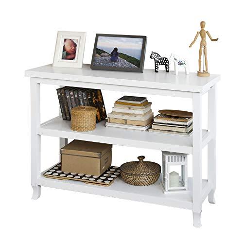SoBuy® FSB06-W Konsolentisch,Flurschrank,Sideboard,Küchenschrank,mit 3 Ablagen, 110x40x80cm, weiß,