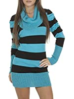 Womens Ladies Long Sleeve Cowl Neck Striped Knitted Jumper Dress