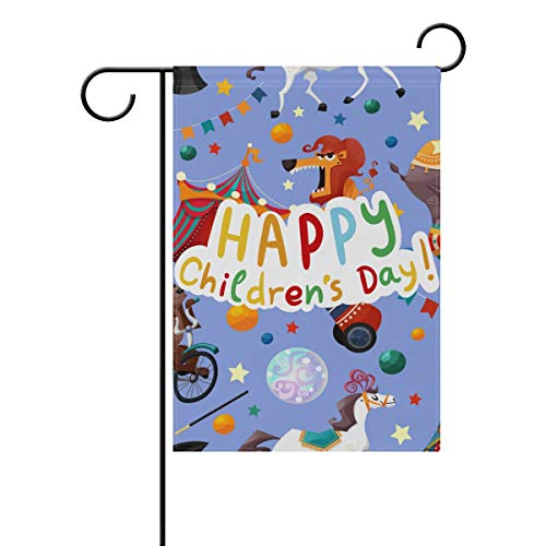 Buyxbn Gartenflagge Happy Kinder Day Purple Animal Circus Inch Double Side House Yard Rasen Terrasse Outdoor Seasonal Decor, Polyester, Color-1, 12