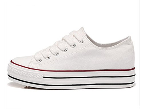 Padgene Baskets Mode Chaussure De Sport Sneakers Chaussures En Toile Chaussure Basse Talons épais Femme Blanc