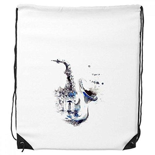 DIYthinker Sax Gebäude Mann Frau Regenschirm Aquarell Illustration Rucksack-Shopping Sport Taschen Geschenk