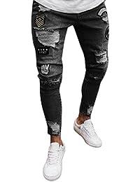 a0328c535468 Fami Pantalone Attillato strappato da Uomo Slim Fit Biker con Cerniera Jeans  Skinny sfilacciato