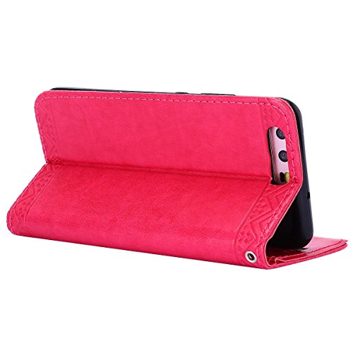 Ledertasche Hülle für Huawei P10,Huawei P10 Schutzhülle,Hpory Vintage Elegant Painted Muster Handyhülle im Bookstyle PU Leather Wallet Brieftasche Flip Case Cover Ledertasche,Etui Folio Handytasche mi Mandala Blumen,rose Rot