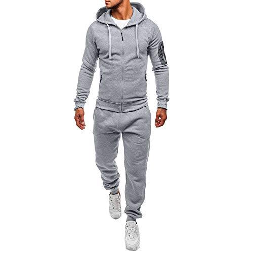 """Survetement Coton Homme Solde Jogging Sport,OverDose Automne Hiver Hoodie Slim Sportswear Casual Tracksuit TAILLES & COUPES Size:M Bust:104cm/40.9"""" Shoulder:43cm/16.9"""" Sleeve:66cm/26.0"""" Top Length:69cm/27.6"""" Pants Length:107cm/42.1"""" Waist:41cm..."""