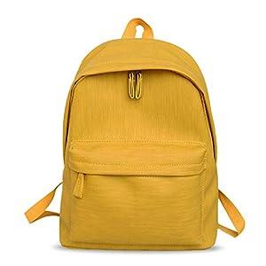 FANDARE Mujer Mochila Casual Bolsas Escolares Niña Mochilas de a Diario Bolsa de Hombro Estudiante Daypacks Impermeable PU Rucksack para Escuela Trabajo Viajo Amarillo